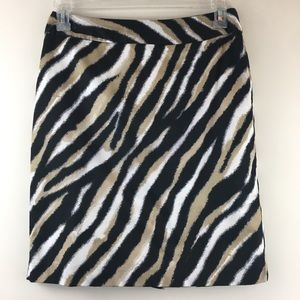 Talbots Petites Zebra Animal Print Pencil Skirt 8P